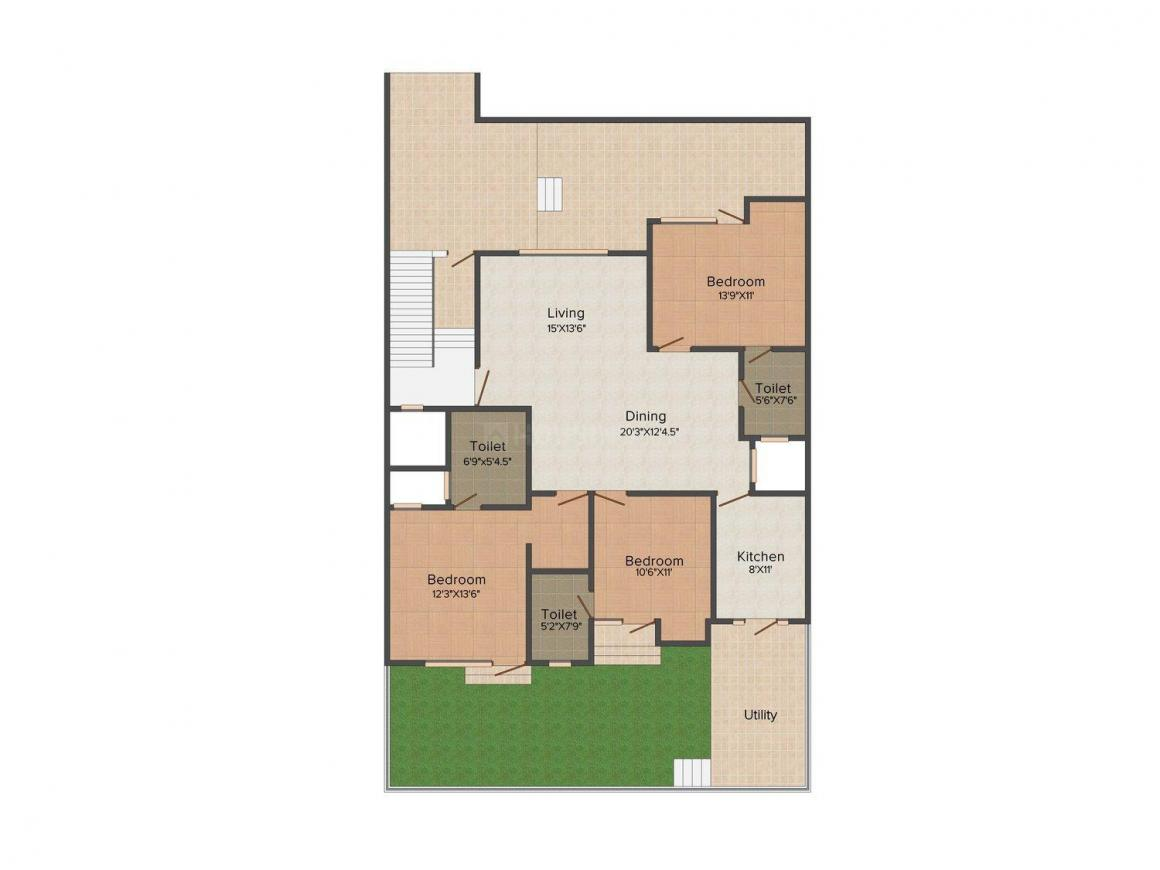 Xperiovation M-119 Floor Plan: 3 BHK Unit with Built up area of 2475 sq.ft 1