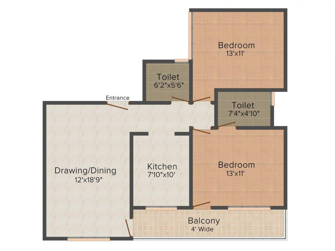 Krishna Apartment Floor Plan: 2 BHK Unit with Built up area of 1190 sq.ft 1