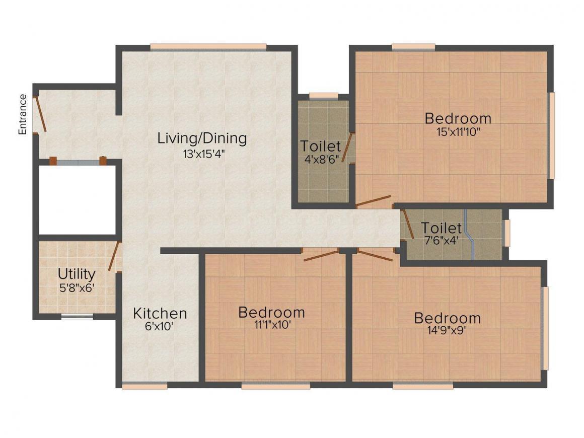 S Raheja Hari Bhavan Floor Plan: 3 BHK Unit with Built up area of 950 sq.ft 1