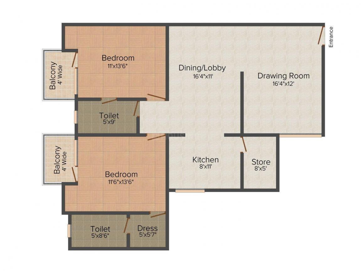 Floor Plan Image of 1425 - 2210 Sq.ft 2 BHK Apartment for buy in Pushpanjali Gardenia