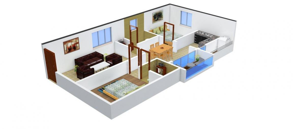 Floor Plan Image of 840 - 1550 Sq.ft 2 BHK Apartment for buy in i1 Purvi Pristine