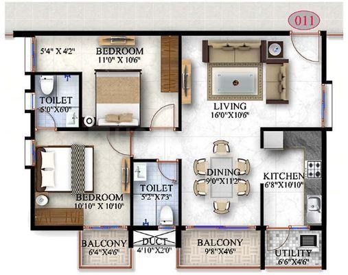 A.T.Z. Estrella Floor Plan: 2 BHK Unit with Built up area of 1090 sq.ft 1