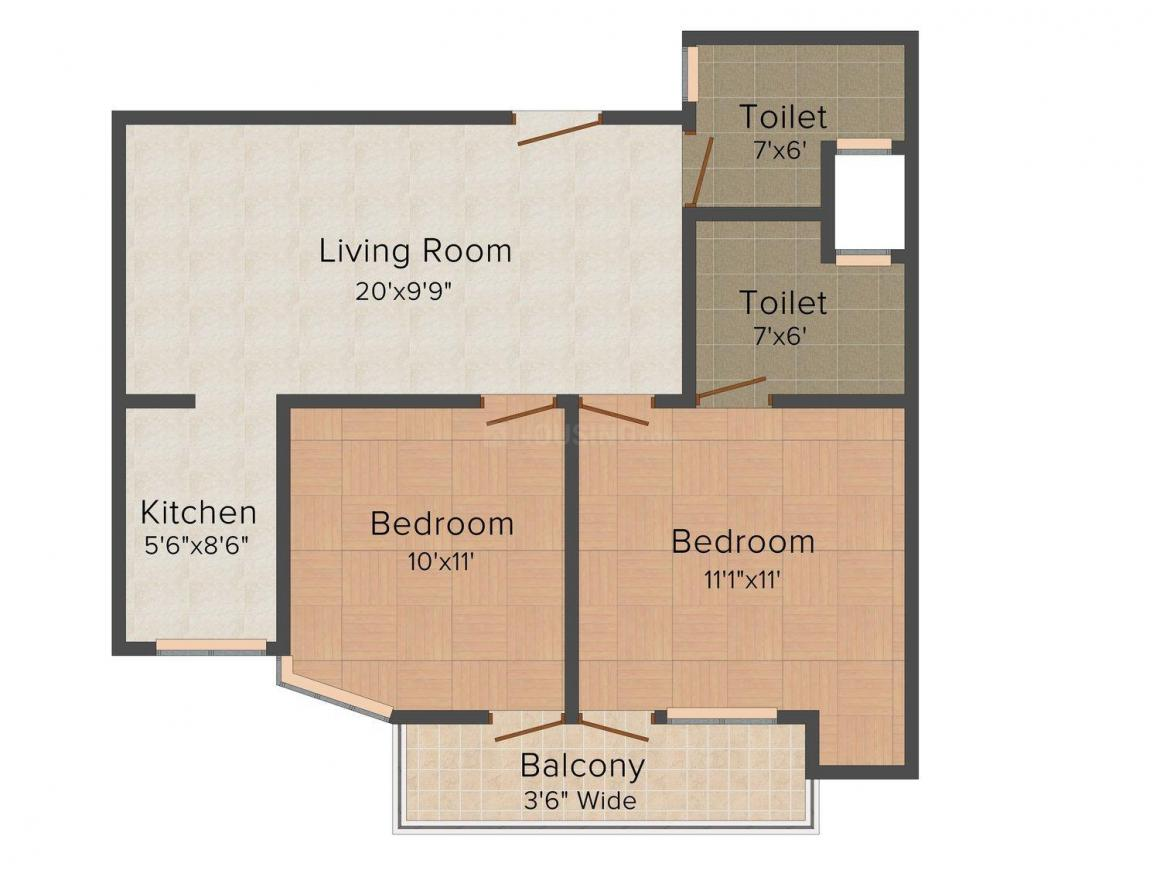 UA Apartment 1 Floor Plan: 2 BHK Unit with Built up area of 738 sq.ft 1