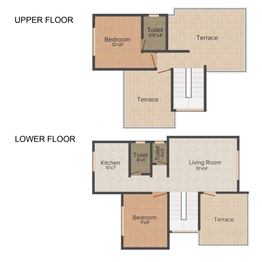 Floor Plan Image of 0 - 885 Sq.ft 2 BHK Villa for buy in Panvelkar Serene Villas