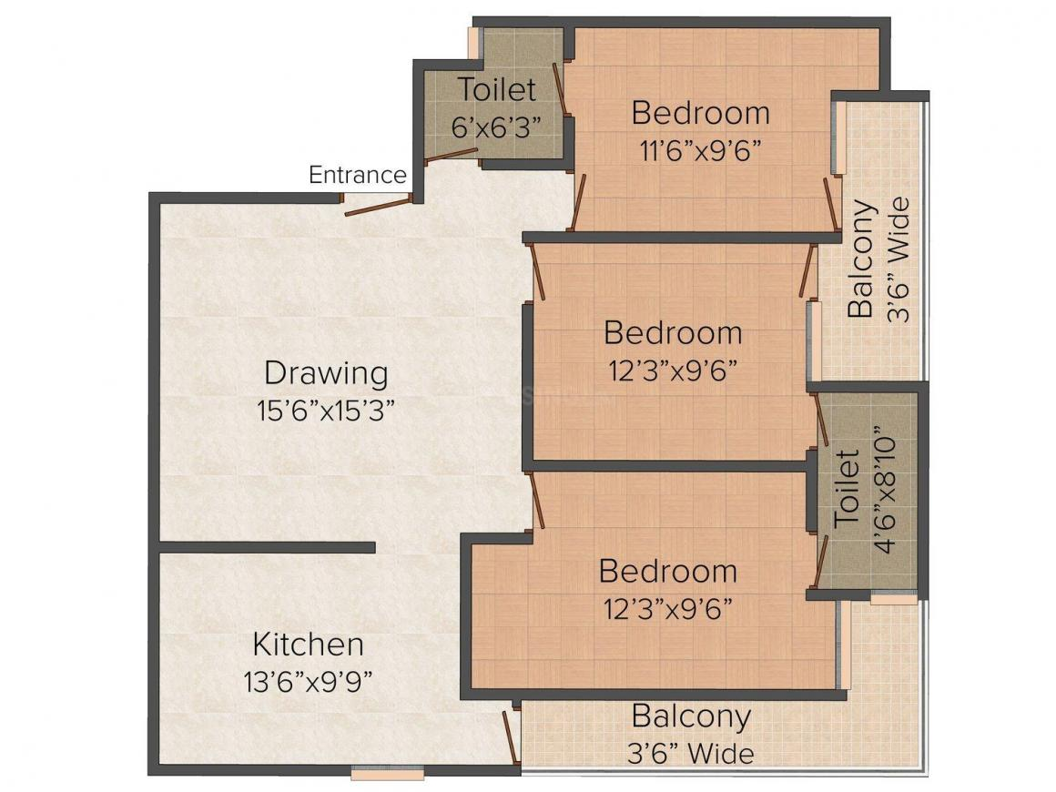 Floor Plan Image of 0 - 900 Sq.ft 3 BHK Independent Floor for buy in 8 Majestic Homes - IV