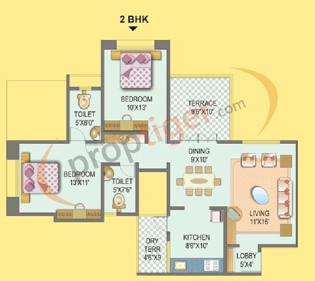Shree Bal Kapil Upavan Floor Plan: 2 BHK Unit with Built up area of 1100 sq.ft 1