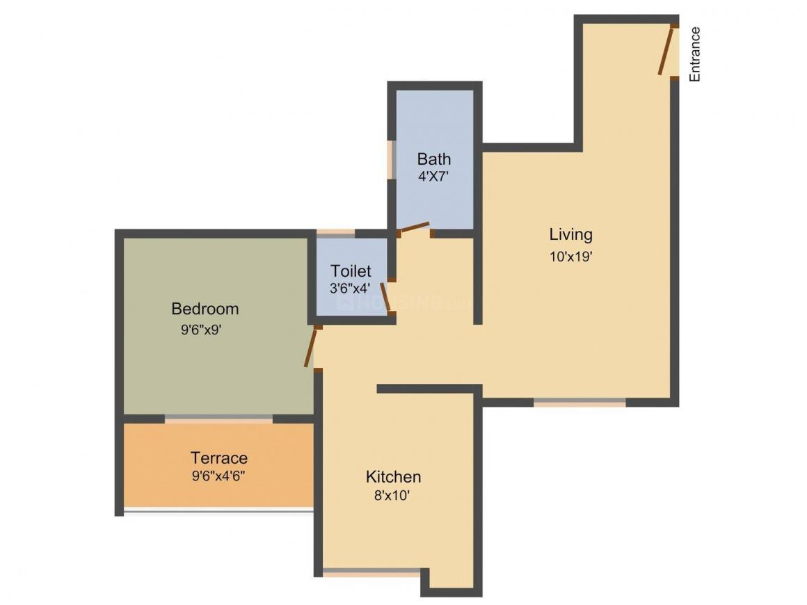 Maitri Residency Floor Plan: 1 BHK Unit with Built up area of 606 sq.ft 1