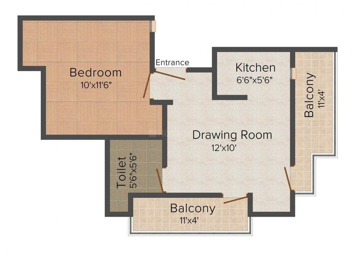 Floor Plan Image of 550 - 1150 Sq.ft 1 BHK Apartment for buy in Bhumi Homes -3