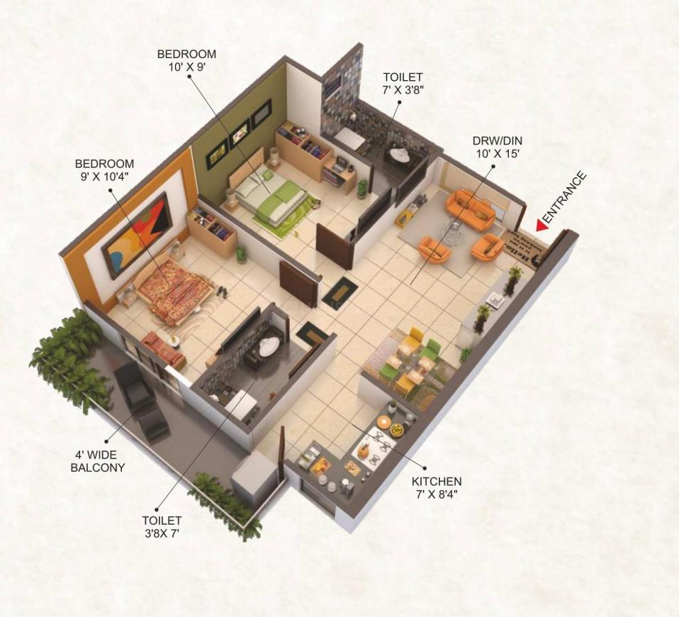 Shree Shiv Aangan Floor Plan: 2 BHK Unit with Built up area of 730 sq.ft 1