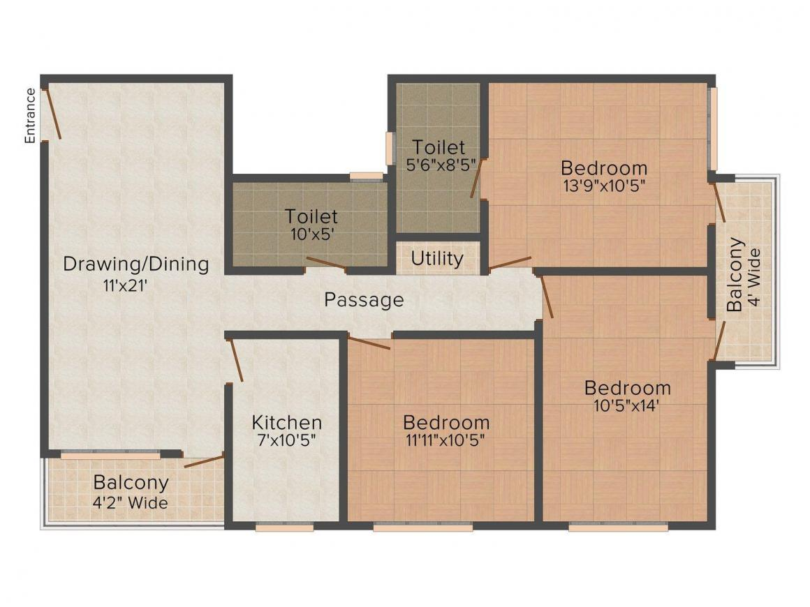 Floor Plan Image of 0 - 1260 Sq.ft 3 BHK Apartment for buy in Badrinath
