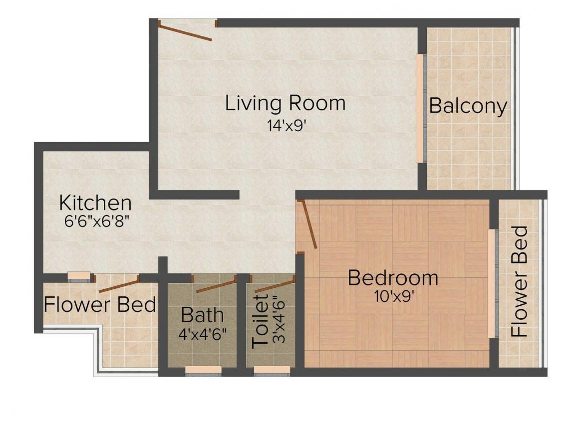 Floor Plan Image of 650.0 - 1060.0 Sq.ft 1 BHK Apartment for buy in ABC Kailash Tower