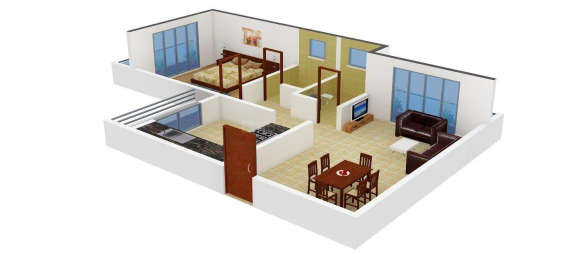 Floor Plan Image of 630.0 - 1250.0 Sq.ft 1 BHK Apartment for buy in Shree Ganesh Solitaire