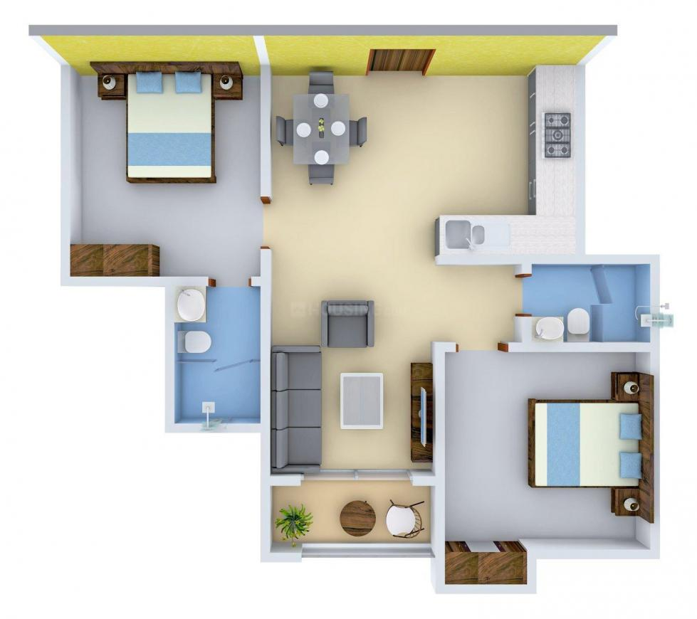Star Green Tower Floor Plan: 2 BHK Unit with Built up area of 983 sq.ft 1