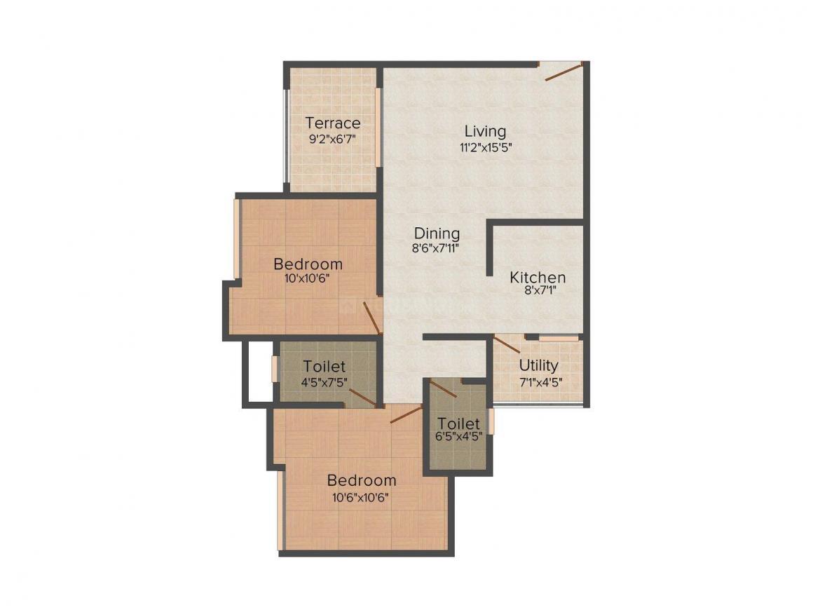 Kalpak Homes Kirkatwadi Floor Plan: 2 BHK Unit with Built up area of 786 sq.ft 1
