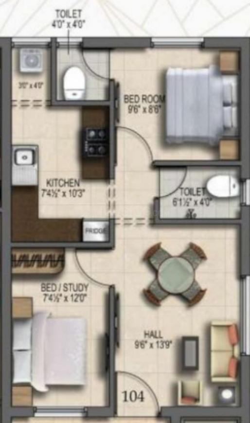 Abinandans Tejasvee Floor Plan: 2 BHK Unit with Built up area of 671 sq.ft 1