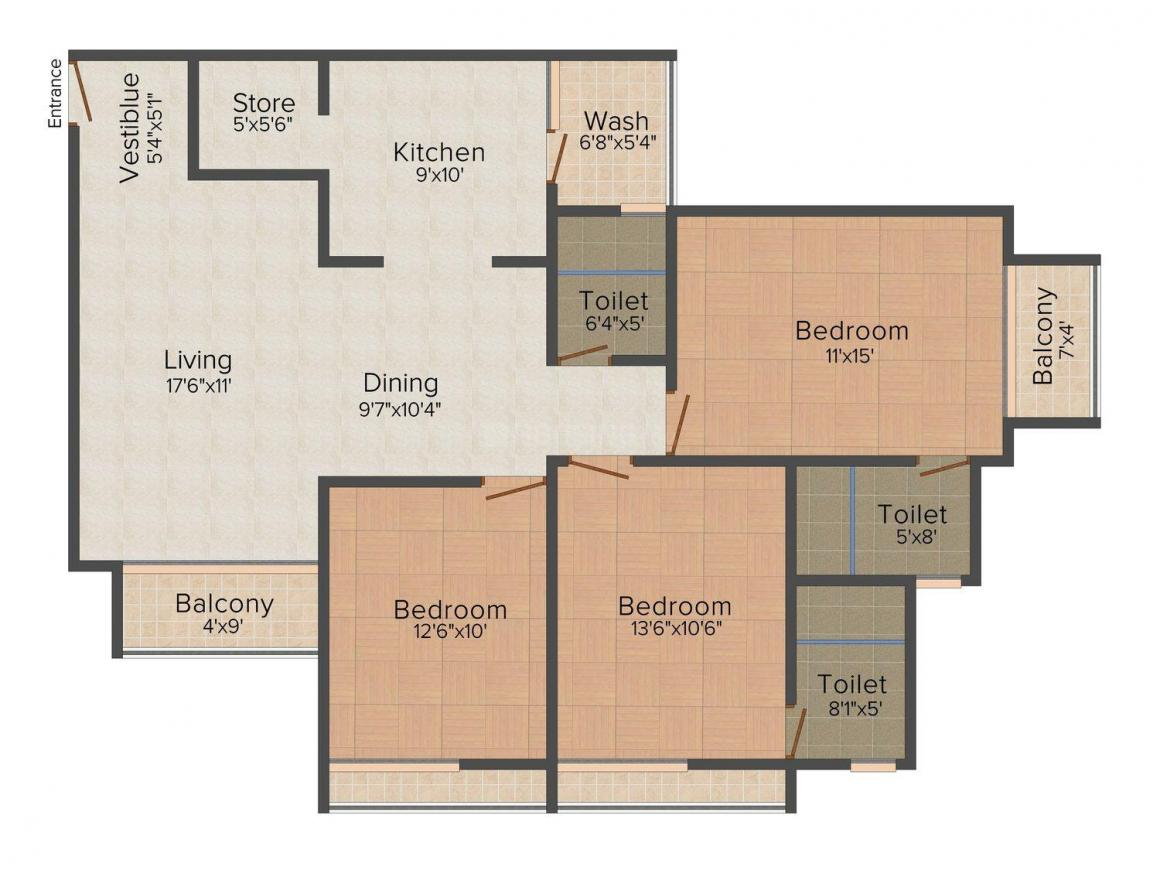 Viva Savoy Floor Plan: 3 BHK Unit with Built up area of 2025 sq.ft 1