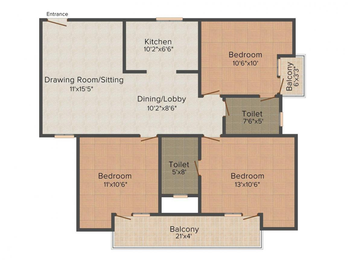 101 Vipul World Floor Plan: 3 BHK Unit with Built up area of 1750 sq.ft 1