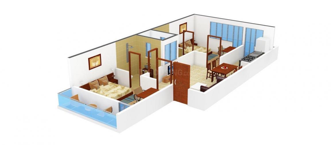Asian Mahadevpuram - 2 Floor Plan: 2 BHK Unit with Built up area of 1035 sq.ft 1