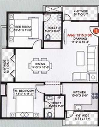 SV SV Paradise Floor Plan: 2 BHK Unit with Built up area of 1100 sq.ft 1