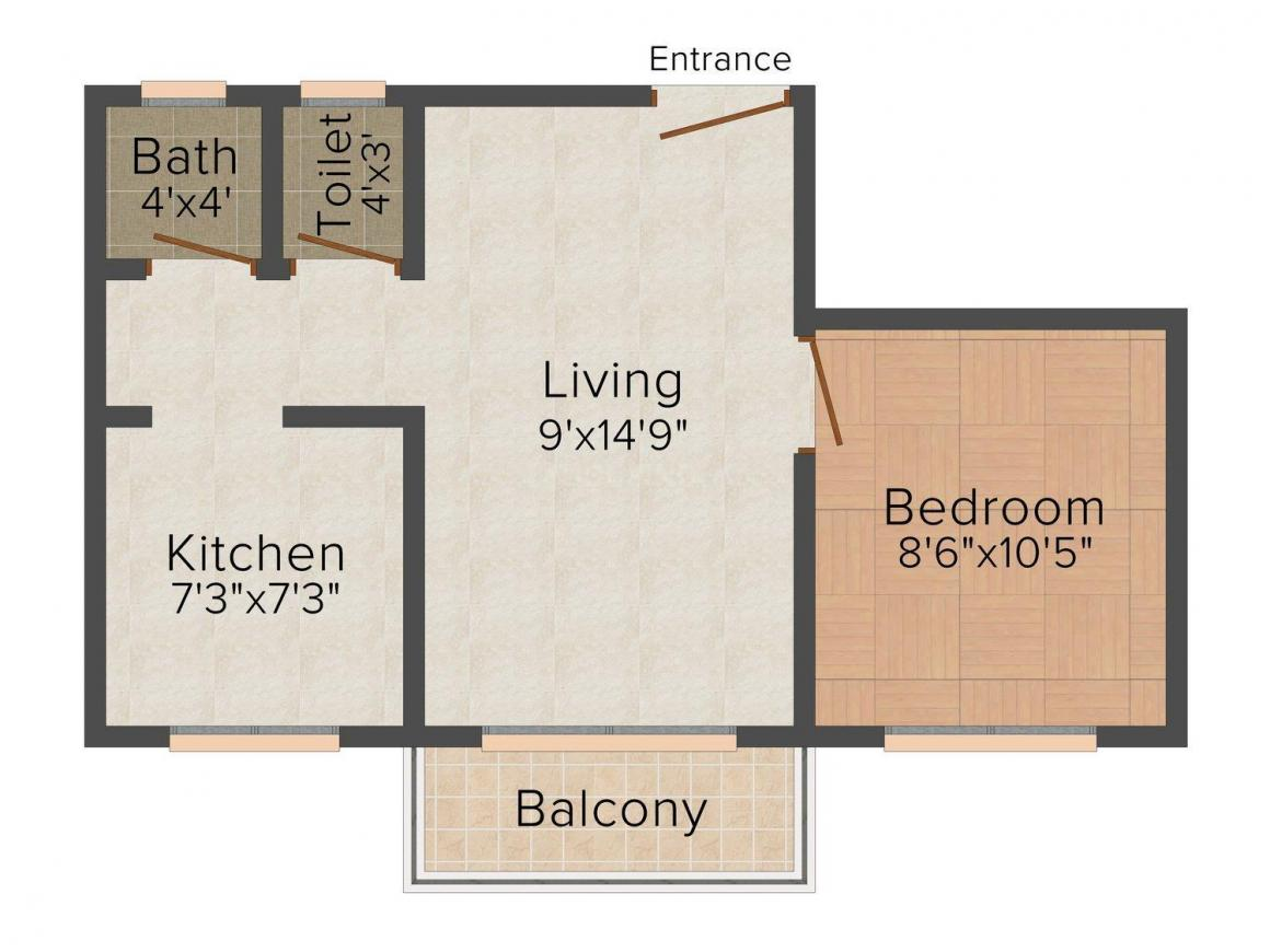 Floor Plan Image of 0 - 470.0 Sq.ft 1 BHK Apartment for buy in Gokul Dham Residency