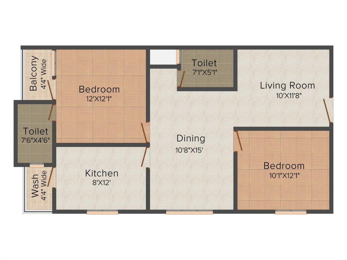 Floor Plan Image of 1009.0 - 1400.0 Sq.ft 2 BHK Apartment for buy in Moghal Minar