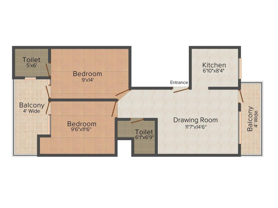 V. P. Homes 25 Floor Plan: 2 BHK Unit with Built up area of 810 sq.ft 1