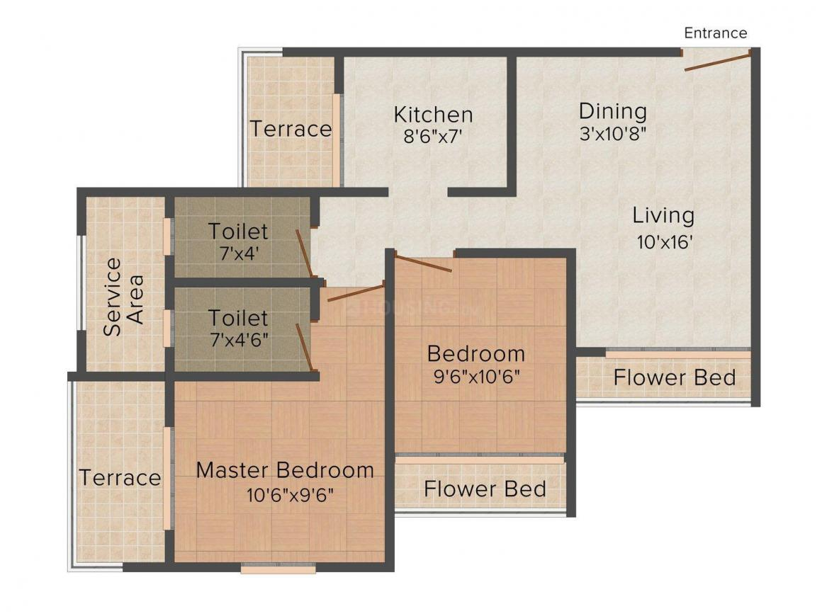 Tharwani's Riviera Floor Plan: 2 BHK Unit with Built up area of 1040 sq.ft 1
