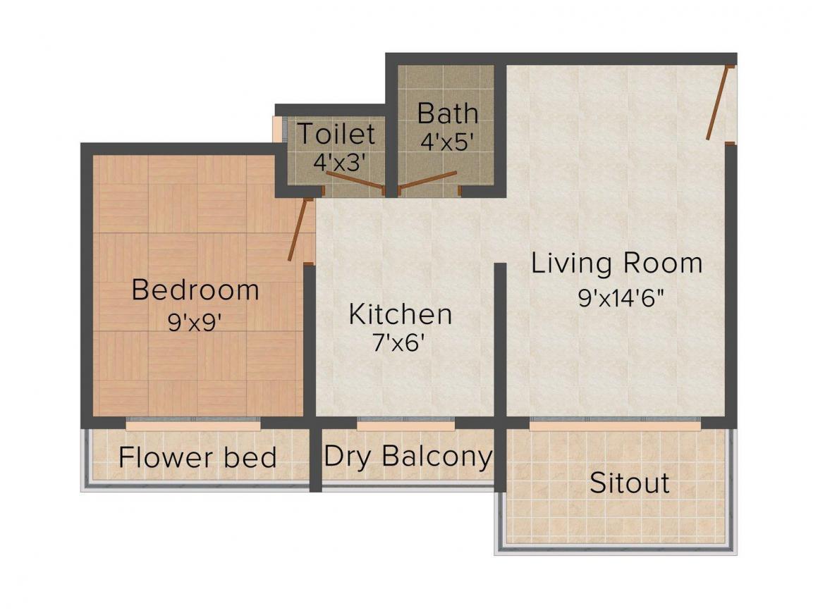 Floor Plan Image of 367.0 - 372.0 Sq.ft 1 BHK Apartment for buy in Kapil Realty Kamla Enclave