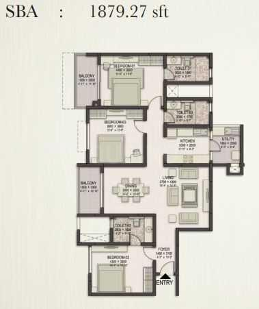 Sobha Eternia Floor Plan: 3 BHK Unit with Built up area of 1879 sq.ft 1
