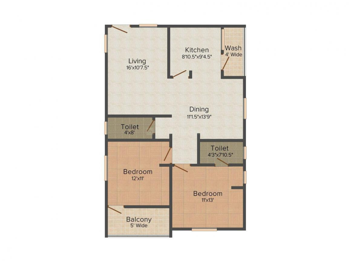 Floor Plan Image of 1210.0 - 1585.0 Sq.ft 2 BHK Apartment for buy in R L City
