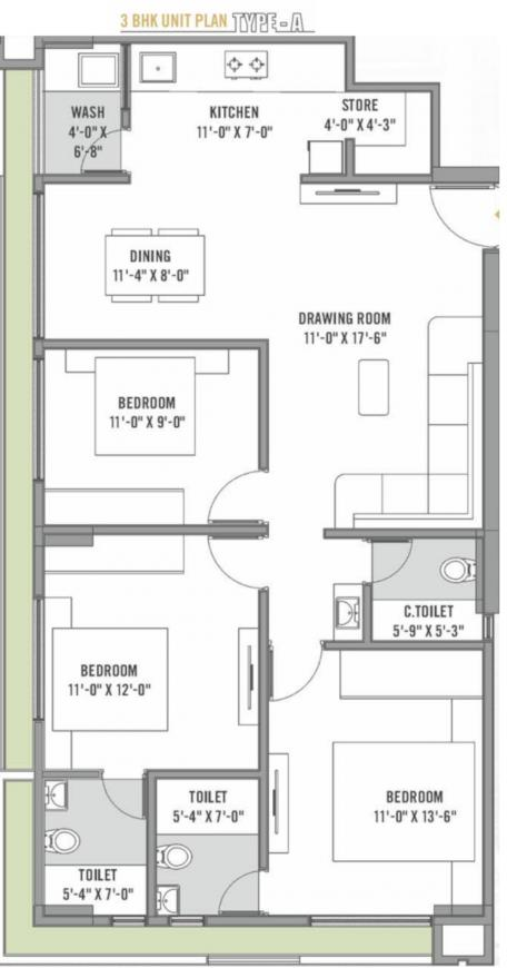Rajshree Elegance Floor Plan: 3 BHK Unit with Built up area of 824 sq.ft 1