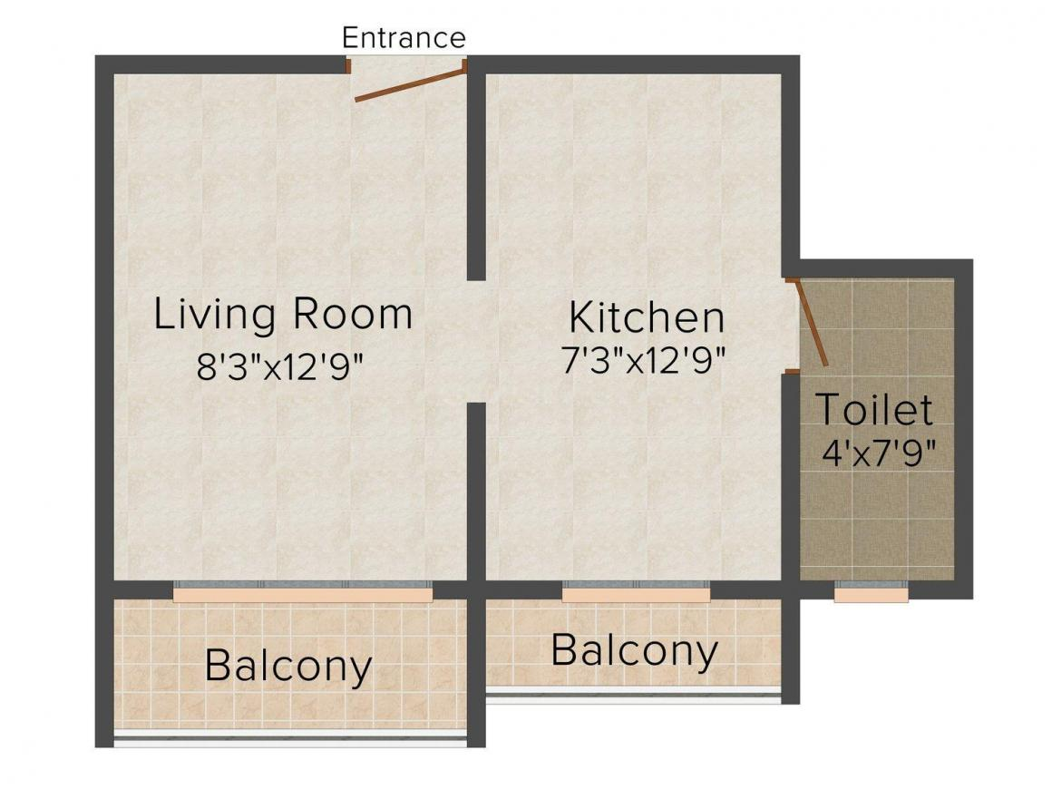 Floor Plan Image of 380 - 560 Sq.ft 1 RK Apartment for buy in Swastik Plaza