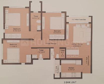 Sunteck Maxxworld 3 Floor Plan: 3 BHK Unit with Built up area of 637 sq.ft 1