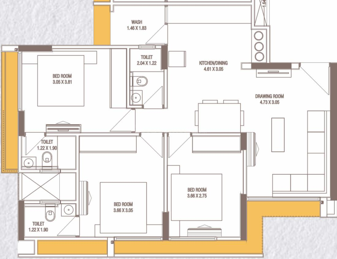 Kailash Ojash Floor Plan: 3 BHK Unit with Built up area of 786 sq.ft 1