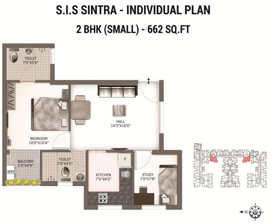 South India SIS Sintra Floor Plan: 2 BHK Unit with Built up area of 662 sq.ft 1