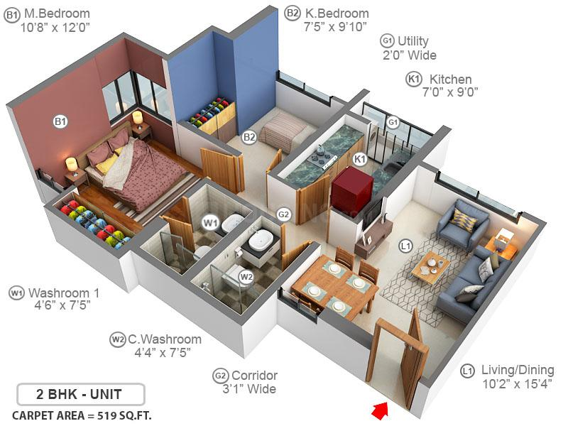Courtyard Floor Plan: 2 BHK Unit with Built up area of 519 sq.ft 2