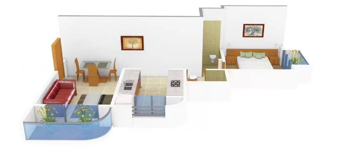 Drashti Narmada Heritage Floor Plan: 1 BHK Unit with Built up area of 650 sq.ft 1