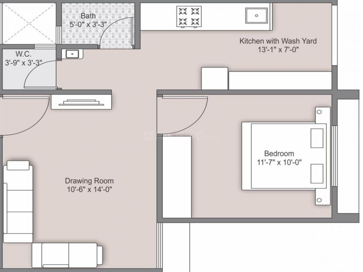 Shiv Ganesh Vatika Floor Plan: 1 BHK Unit with Built up area of 417 sq.ft 1