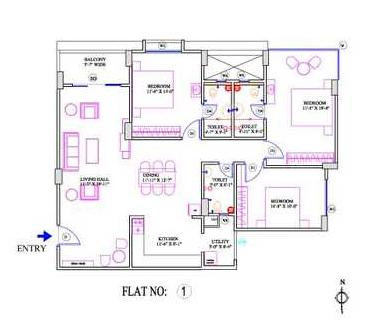 Durga Marine Drive Floor Plan: 3 BHK Unit with Built up area of 1220 sq.ft 1