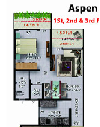 Sanghvi S3 Paradise Phase 1 Floor Plan: 1 BHK Unit with Built up area of 248 sq.ft 1