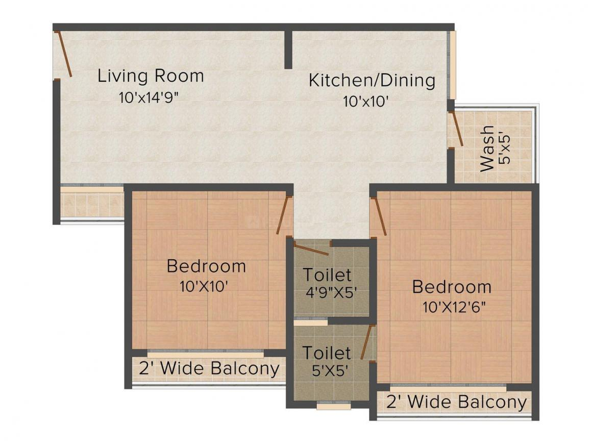 Floor Plan Image of 664.0 - 1647.0 Sq.ft 2 BHK Apartment for buy in PSY Pramukh Paramount
