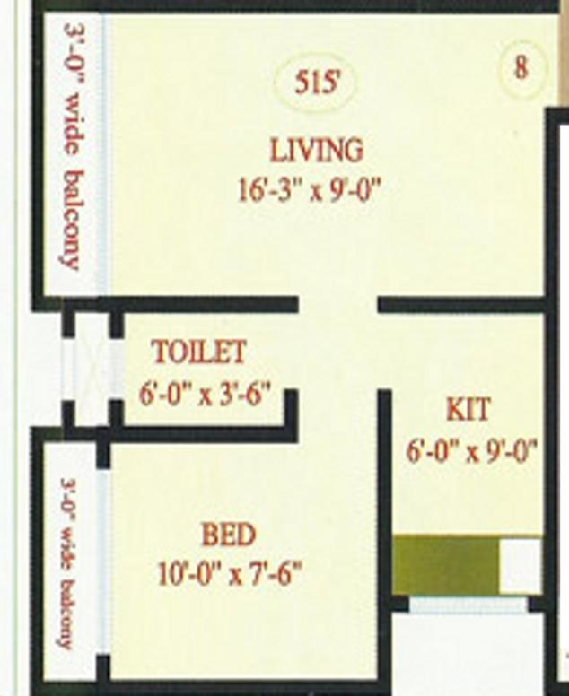 Chanda Complex Floor Plan: 1 BHK Unit with Built up area of 515 sq.ft 1
