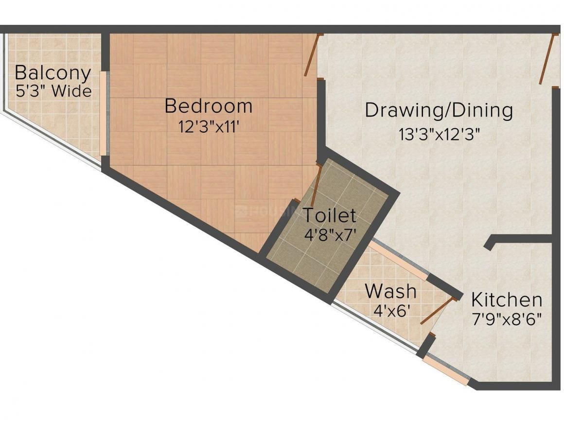 Floor Plan Image of 603.0 - 1490.0 Sq.ft 1 BHK Apartment for buy in Shikhar Balaji Heights