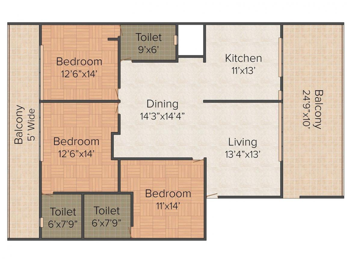 S & S Floors  2 Floor Plan: 3 BHK Unit with Built up area of 1916 sq.ft 1
