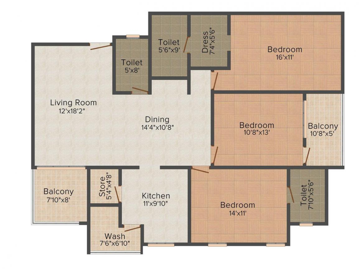 Almas Atlantis Floor Plan: 3 BHK Unit with Built up area of 1582 sq.ft 1