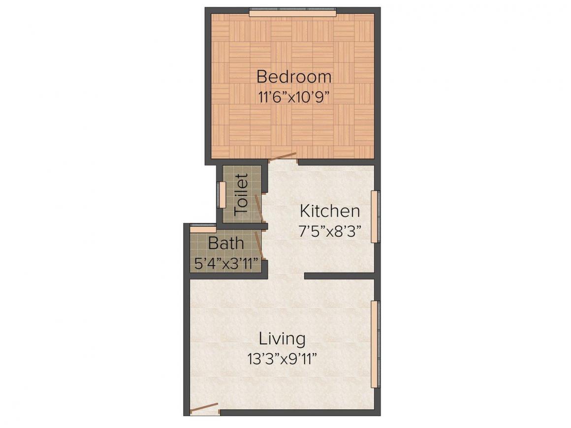 Floor Plan Image of 518.0 - 634.0 Sq.ft 1 BHK Apartment for buy in Gayatri Park
