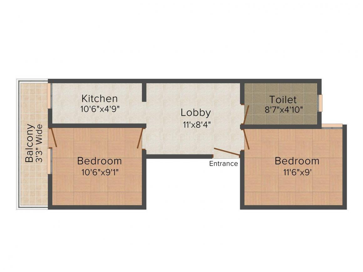 Floor Plan Image of 0 - 519.0 Sq.ft 2 BHK Independent Floor for buy in Amrit Homes 3