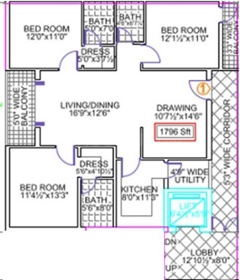 Legend Legend Happy Nest Floor Plan: 3 BHK Unit with Built up area of 1796 sq.ft 1