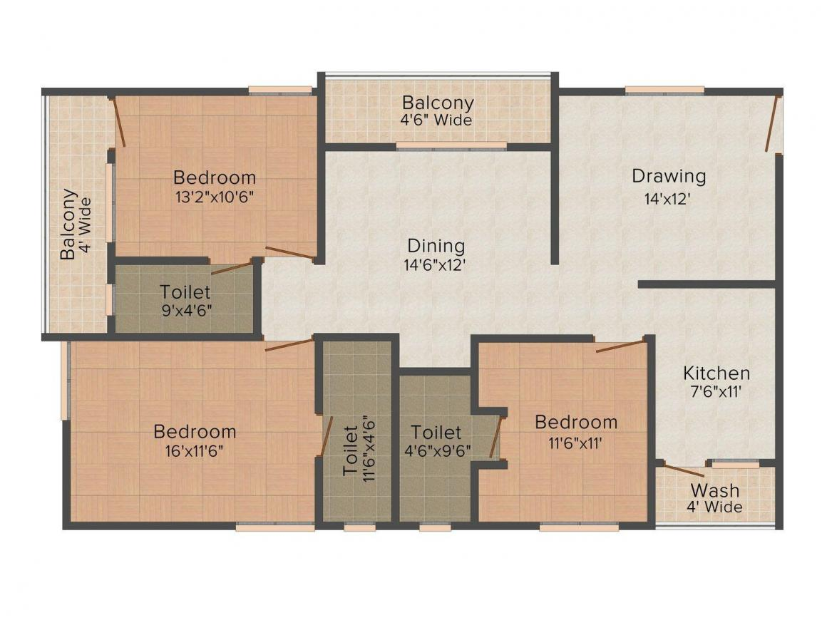 Floor Plan Image of 1670.0 - 2510.0 Sq.ft 3 BHK Apartment for buy in Reliance Avans Arena