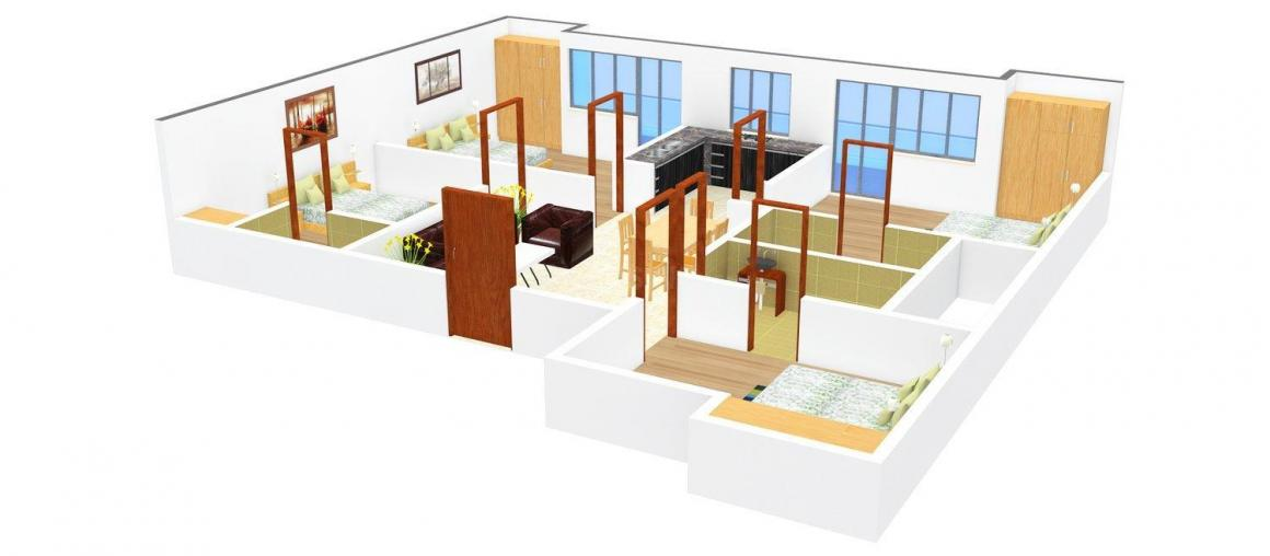 Floor Plan Image of 0 - 1400 Sq.ft 3 BHK Independent Floor for buy in Taneja Floors 3